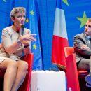 La Commissaire Margrethe Vestager et le Ministre Emmanuel Macron lors du Dialogue citoyen, organisé par la Représentation en France de la Commission européenne - 15 juin 2015