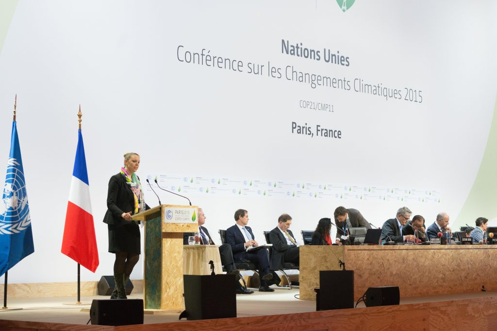 Carole Dieschbourg, Luxembourg's minister for Environment, gives a speech during the High Level Plenary session during the COP21 in Le Bourget, France, on December 07th, 2015.